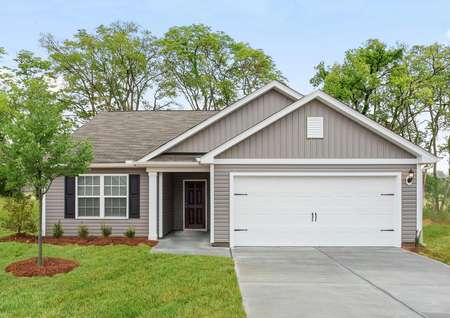 Alamance floor plan with siding, shutters and coah lighting.