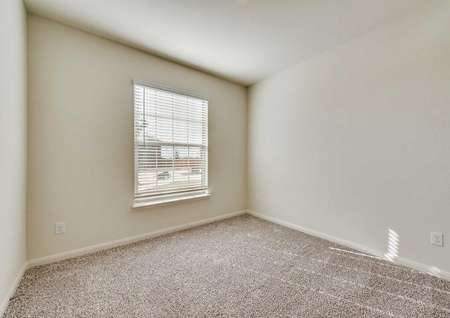 Secondary bedroom with white walls, brown carpet and great natural light.