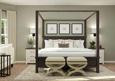 Rendering of the spacious master bedroom   with brown wood poster bed, white and brown nightstands, with oversized   armchair and windows visible on the left