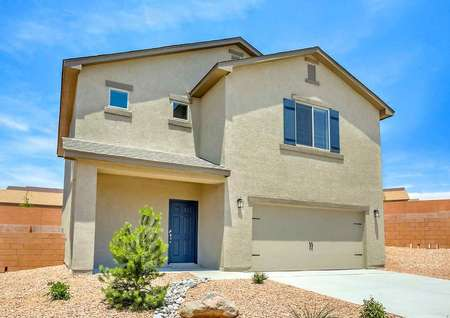 Snowflake front of house with desert landscaping, light brown stucco finish, and two levels