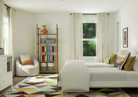 Rendering of bedroom with two windows,   storage shelves, and additional seating.