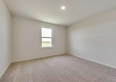 Secondary bedroom with white walls and brown carpet.