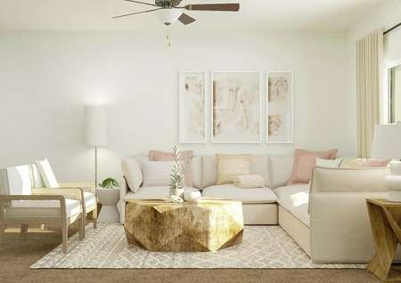 Rendering of living room with large   couch, additional seating, window, and round coffee table.