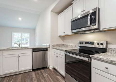 The Alamance kitchen with stainless steel appliances.