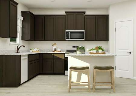 Rendering of the   kitchen with dark brown cabinetry, a spacious island with two barstools,   stainless steel Whirlpool brand appliances and a window.