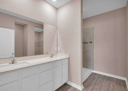 The master bathroom features double sinks and a large walk-in closet.