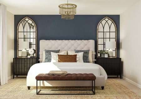 Rendering of the spacious master bedroom   with a large bed centered between two nightstands and impressive mirrors. On   the left wall is the window and on the right is the entrance to the hallway.