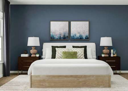 Rendering of the generously sized master   bedroom. The space has a dark blue accent wall furnished with a large bed and   two nightstands. On the adjacent wall is a window.