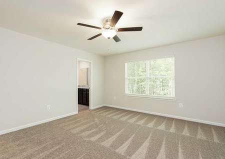 The Mid Atlantic Conway master bedroom shown with carpet, decorative ceiling fan and faux wood blinds.