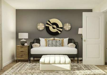 Rendering of   secondary bedroom with window, closet and black day bed with nightstand   accent a dark gray accent wall.