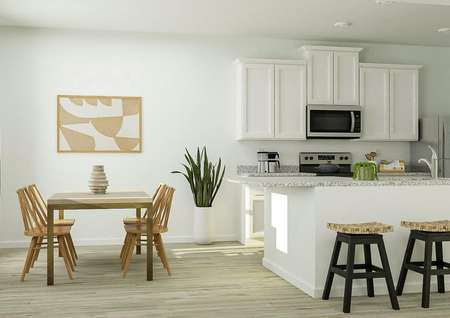 Rendering of the   kitchen and dining area in the Roanoke. The kitchen has white cabinets,   granite counters and stainless steel appliances. The dining room is furnished   with a rectangular table and four chairs.
