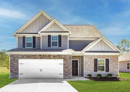 Exterior of Hartwell floor plan with brick and stone accents