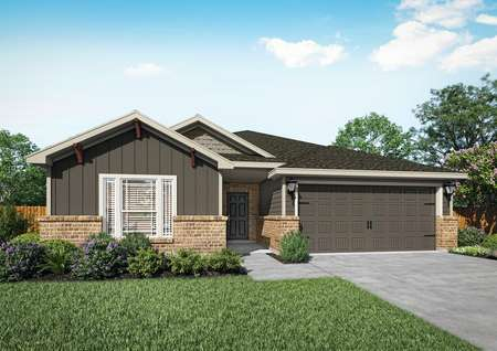 The Keystone is a stunning one-story home with gray siding and tan brick.