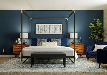 Rendering of spacious master bedroom with   large poster bed, wood nightstands and two blue chairs