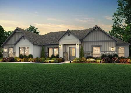 Dusk rendering of the Mantle plan with tan stucco and gray siding and stone accents.