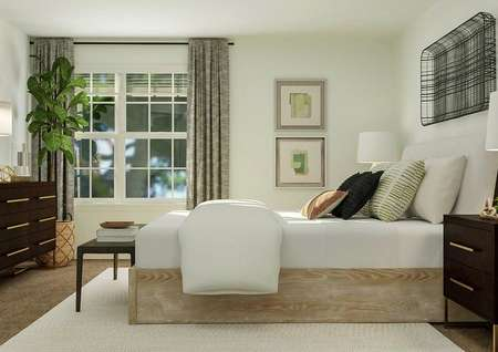 Rendering of a spacious bedroom with a   large window and carpeted flooring. The space is furnished with a wooden   dresser on the left wall and a large bed on the right.