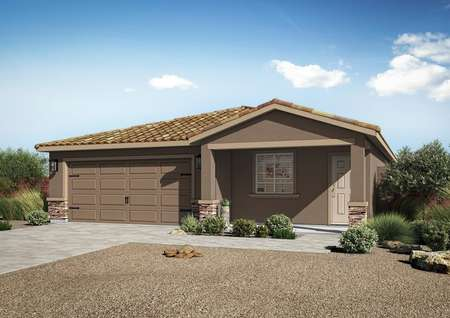 This beautiful Taos floor plan has great curb appeal with professional landscaping and stone detailing.