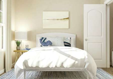Rendering of a secondary bedroom with   large window, tan walls and carpeted flooring covered by a blue and white   striped rug. Decorated with a large white bed and a nightstand.