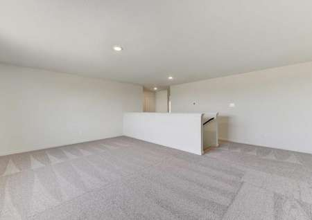 Travis loft with ceiling lighting and carpeting
