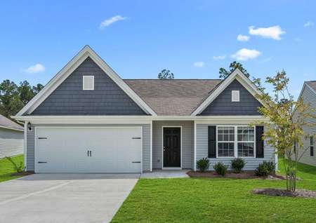 Allatoona exterior front view with two-tone siding, white carriage-style garage, and green lawn