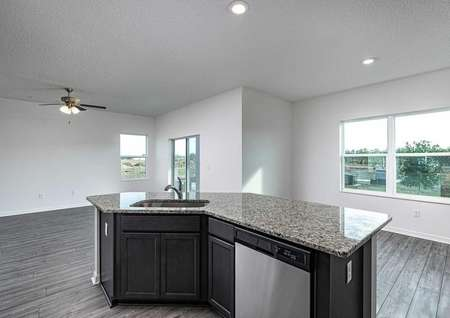 Granite countertop in an open kitchen overlooking the family room.