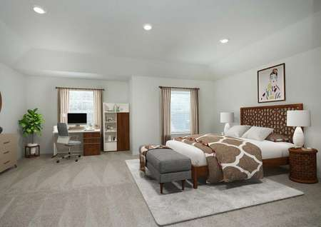 Spacious, decorated master bedroom with two windows, carpet, bed, dresser, desk and shelf, recessed lighting.
