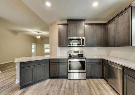 Ontario kitchen with recessed lights, abundant cabinet space, and stainless steel appliances