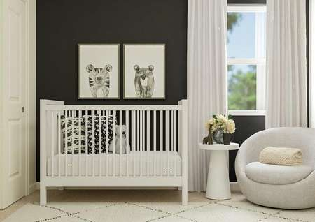 Rendering of a secondary bedroom with   window and closet decorated as a nursery, featuring a black accent wall,   white crib and gray chair.