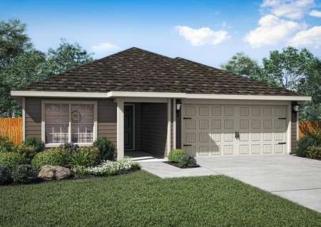 Single-story home with gray siding, an attached two-car garage and front yard landscaping.