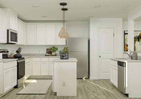 Rendering of the spacious kitchen in the   Ashburn, which has gray-washed vinyl plank flooring, granite countertops,   white cabinetry and an island in the middle of the space.