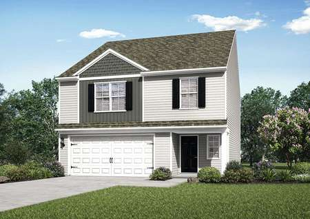 Fripp house plan exterior with two levels, green grass, and two-car garage