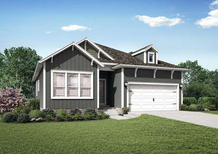 The Mid Atlantic James rendering of the front exterior of a single story home with attached garage.