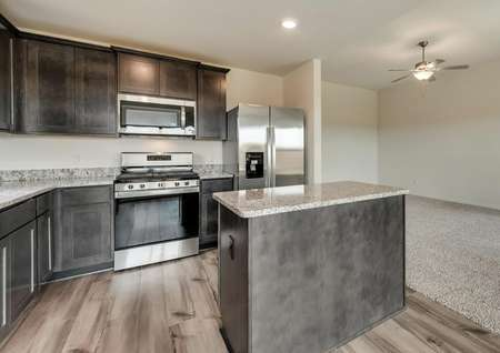 The kitchen is open to the family room creating the perfect open layout.