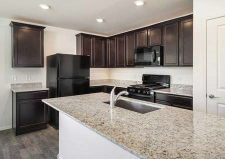 The Luna floorplan shows a kitchen with granite countertops and dark brown cabinets.