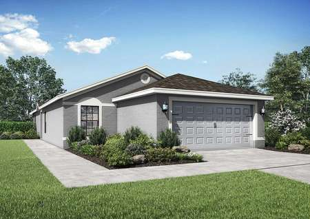 Cocoa single-family home rendering with gray stucco, landscaped yard, and two car garage door