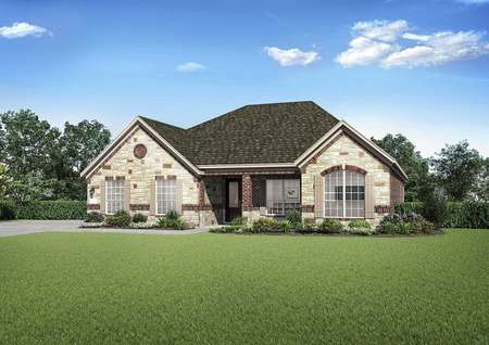 Fairview artist rendering of front exterior with custom stonework, green lawn, and single-story living