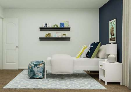 Rendering of a children's bedroom   furnished with a white bed and camo-colored poofs on a geometric   blue-and-white rug. One wall is painted navy.