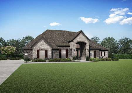 Timberline street view rendering with green lawn, dark brown roof, and stone façade