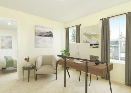 upstairs flex room with 2 windows, staged with desk and chair, plant, armchair, side table, looks into bedroom