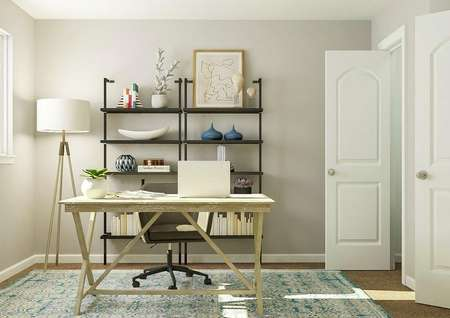 Rendering of a room furnished as an   office with a desk, computer chair, two black shelves and a standing lamp.
