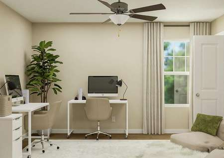 Rendering of the upstairs loft space with   ceiling fan, window and doorway to a closet with two desks.