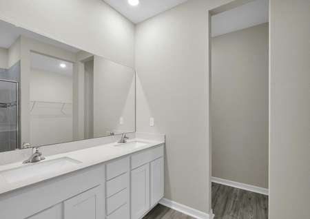 Double sinks and a large walk-in closet are highlighted in the master bathroom.