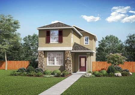 The renderings of the Empire floor plan that is painted tan with a red front door and a lush green grass front yard.
