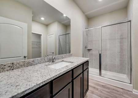 Maple master bathroom with walk-in shower, granite countertop, and dark wood cabinet space