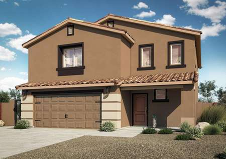 Exterior rendering of the Snowflake floor plan with tan stucco, tile roof and designer coach lights