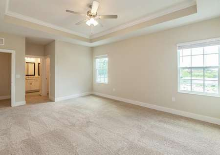Master bedroom with a vaulted ceiling, two large windows and a spacious full bathroom with a walk-in closet.