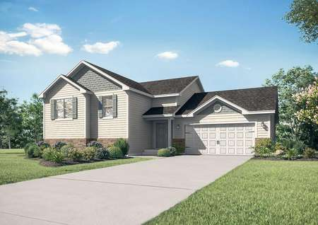Nicollet single-family home with paved driveway, two car garage, and landscaped yard