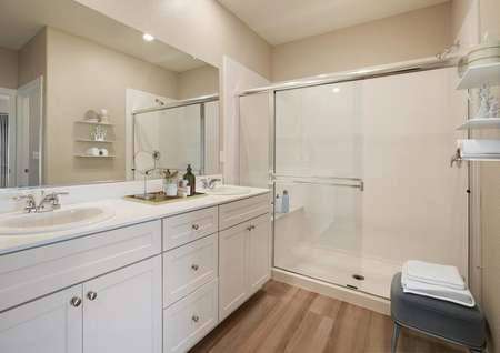 Staged master bath with a dual-sink vanity and spacious walk-in shower.