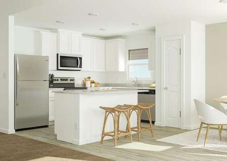 Rendering of kitchen area with living   room view and barstool seating.