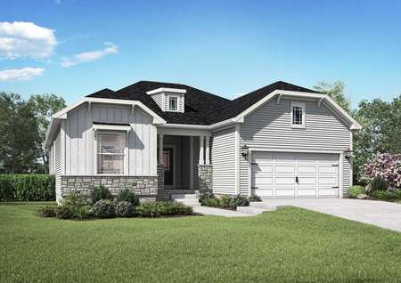 The Mid Atlantic Anna rendering of the front exterior of a single story home with attached garage.